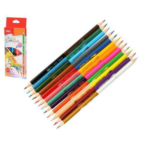 Pastelky DELI trojhranné ColoRun 2v1 24 barev