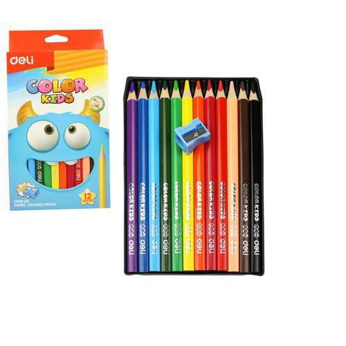 Pastelky DELI trojhranné JUMBO 12 barev Color Kids