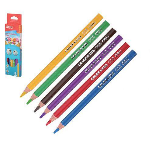 Pastelky DELI trojhranné JUMBO 6 barev Color Kids