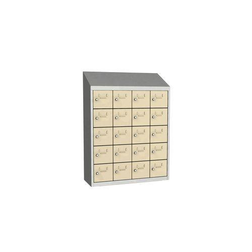 Svařovaná skříň na osobní věci Olaf, 20 boxů, otočný uzávěr, šed