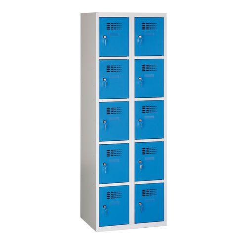 Svařované šatní skříně Eric odlehčené, 10 boxů, cylindrický zámek