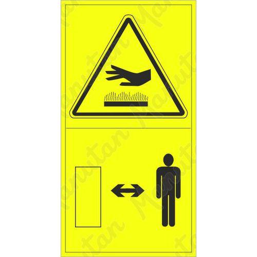 Výstraha horký povrch dodržuj bezpečnou vzdálenost, samolepka 45