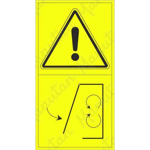 Výstraha neodstraňuj kryt pokud je stroj v běhu, samolepka 95 x