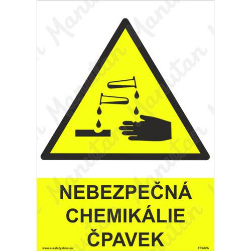 Nebezpečná chemikálie čpavek, samolepka 210 x 297 x 0,1 mm A4