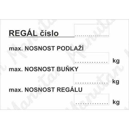 Označení regálu, samolepka 150 x 105 x 0,1 mm