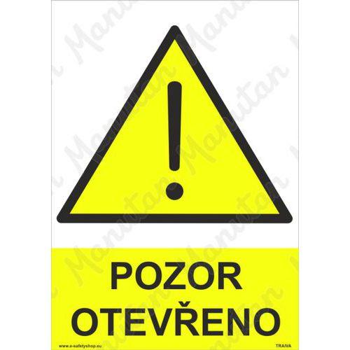 Pozor otevřeno, plast 210 x 297 x 0,5 mm A4