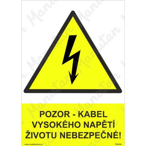 Pozor kabel vysokého napětí životu nebezpečno, plast 210 x 297 x