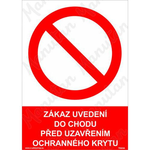 Zákaz uvedení do chodu před uzavřením ochranného krytu, plast 29