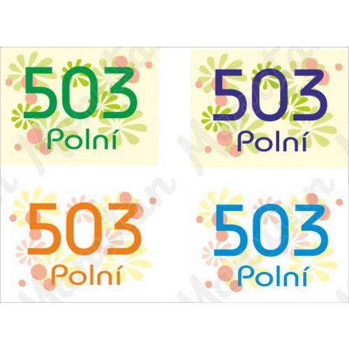 Domovní číslo, plast 210 x 148 x 2 mm A5, květy světle modrá