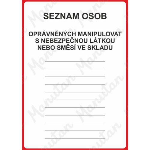 Seznam osob opravněných manipulovat, plast 148 x 210 x 0,5 mm A5