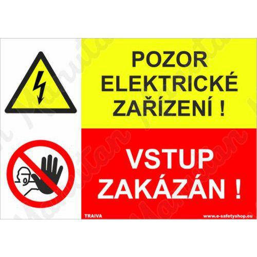 Pozor elektrické zařízení, plast 210 x 148 x 2 mm A5