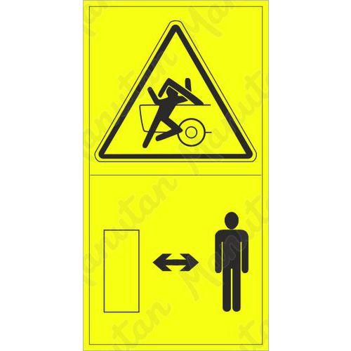Výstraha možnost stlačení osoby při sklopení části stroje, samol