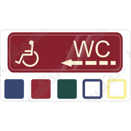 WC invalida vlevo, samolepka 200 x 70 x 0,1 mm, průhledná modrá