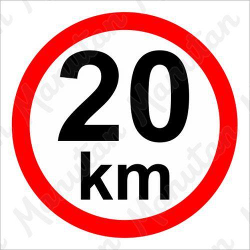 Omezení rychlosti 20 km/h, plast 210 x 210 x 0,5 mm