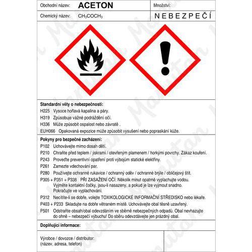 Aceton štítek, samolepka 148 x 210 x 0,1 mm A5