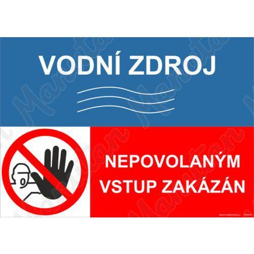 Vodní zdroj nepovolaným vstup zakázán, samolepka 148 x 105 x 0,1