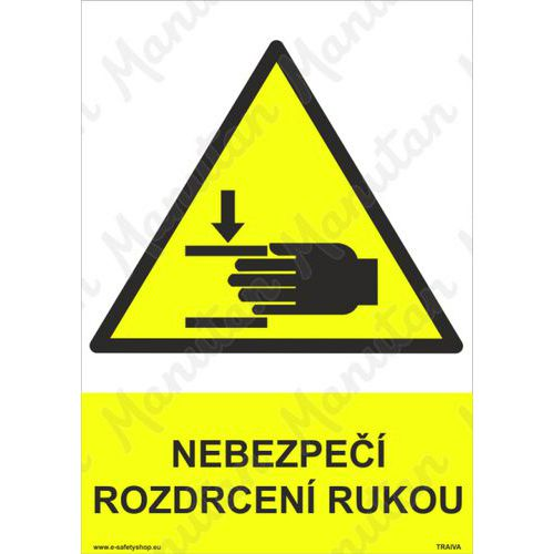 Nebezpečí rozdrcení rukou, plast 148 x 210 x 0,5 mm A5