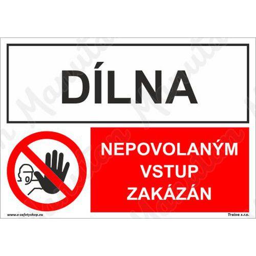 Dílna nepovolaným vstup zakázán, plast 297 x 210 x 0,5 mm A4