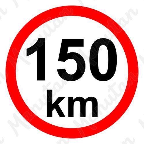 Omezení rychlosti 150 km/h, samolepka D 200 mm