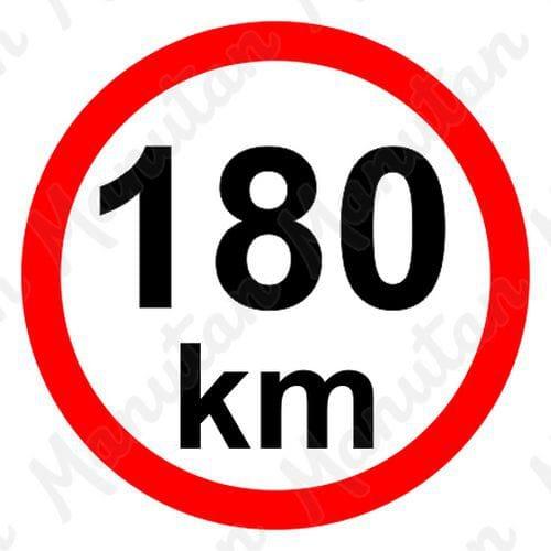 Omezení rychlosti 180 km/h, samolepka D 150 mm