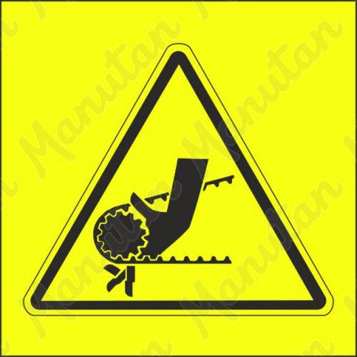 Výstraha nebezpečí vtažení ruky řetězem nebo ozubeným řemenem, s