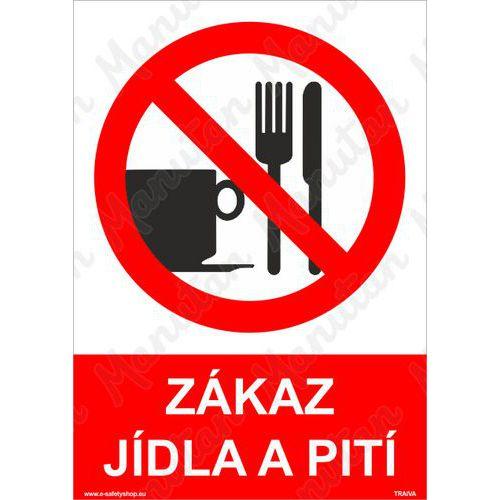 Zákaz jídla a pití, samolepka 80 x 80 x 0,1 mm, inverzní