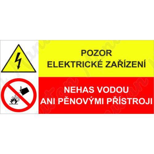 Pozor elektrické zařízení, plast 75 x 50 x 0,5 mm