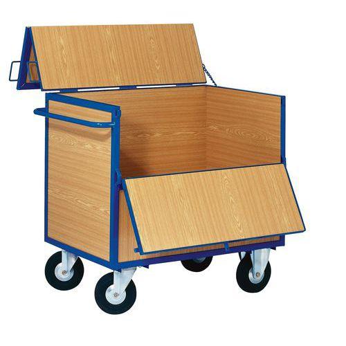 Uzavíratelný skříňový vozík s madlem a plnými stěnami, do 400 kg