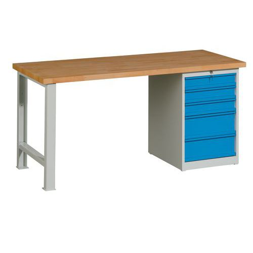 Dílenský stůl Weld s 5 zásuvkami, 84 x 170 x 68,5 cm, šedý - Prodloužená záruka na 10 let