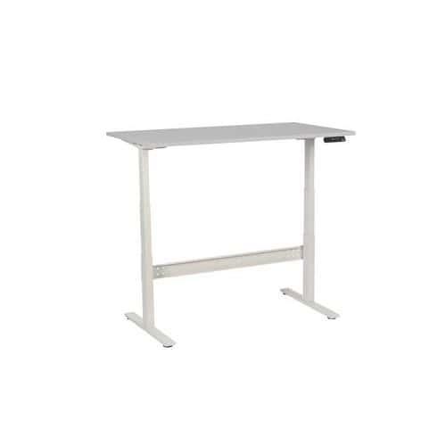 Výškově nastavitelné kancelářské stoly Manutan, Celková šířka: 1400 mm, Celková hloubka: 800 mm, Dezén desky: Světle šedá, Model: výškově nastavitelný - Prodloužená záruka na 10 let