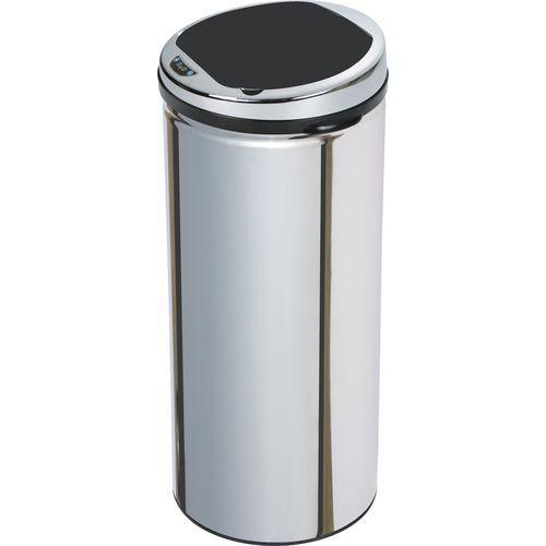 Bezdotykový kovový odpadkový koš, objem 30 l, stříbrný