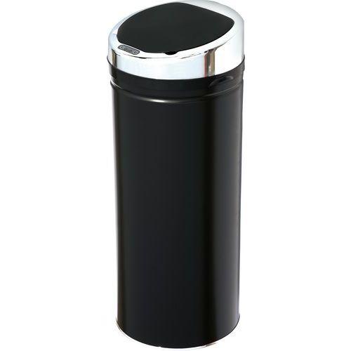 Bezdotykový kovový odpadkový koš, objem 30 l, černý