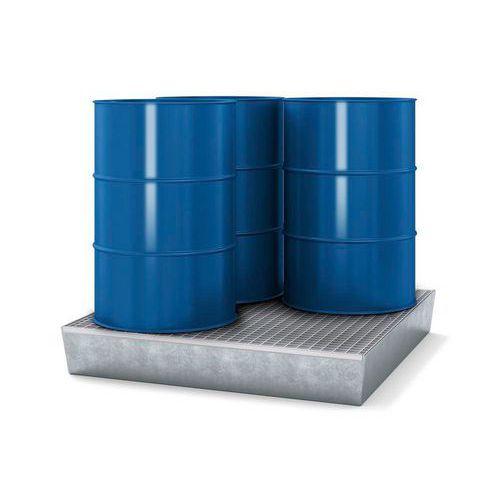 Ocelové záchytné vany s roštem, pro 4 sudy