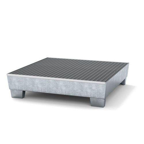 Ocelová záchytná vana s roštem, integrované nohy, pro 4 sudy, pozink - Prodloužená záruka na 10 let