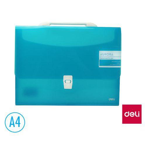 Aktovka spisová DELI AURORA box A4 1 přihrádka, modrá