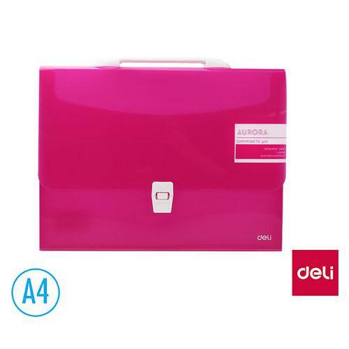 Aktovka spisová DELI AURORA box A4 1 přihrádka, růžová