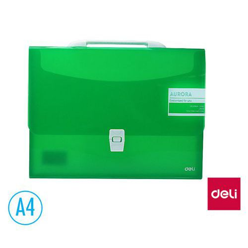 Aktovka spisová DELI AURORA box A4 1 přihrádka, zelená