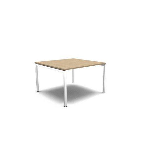 Jednací stůl MOON, 120 x 120 x 74 cm, bělený dub/bílá - Prodloužená záruka na 10 let
