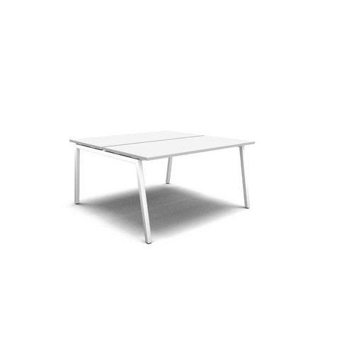 Sdružené pracovní stoly, deska bílá, podnož bílá - Prodloužená záruka na 10 let