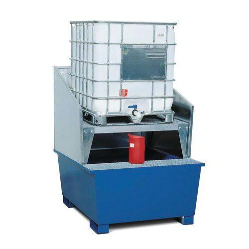 Ocelová záchytná vana pod IBC kontejner, lakovaná, Kapacita (počet sudů): 4, Materiál: kov, Rohož: ano, Záchytná kapacita: 1000 L, Povrchová úprava: l - Prodloužená záruka na 10 let