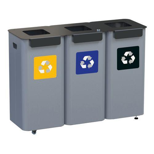 Sada 3 ks kovových venkovních odpadkových košů Modular na tříděný odpad, objem 3 x 70 l
