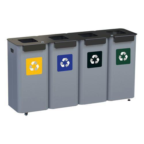 Alda Sada 4 ks kovových venkovních odpadkových košů Modular na tříděný odpad, objem 4 x 70 l, Kapacita: 280 L, Materiál: Kov, Hmotnost: 44 kg, Barva: Šedá,