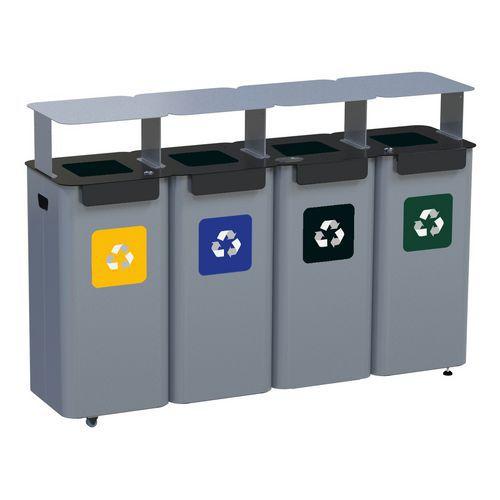 Sada 4 ks kovových venkovních odpadkových košů Modular Hood na tříděný odpad, objem 4 x 70 l