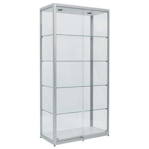 Skleněná produktová vitrína Deka s osvětlením, 40 x 50 x 200 cm