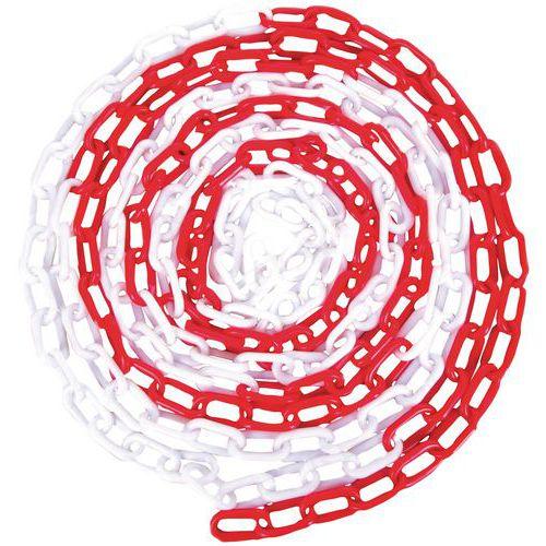 Plastový řetěz k zahrazovacím sloupkům Manutan, 25 m, červený/bí