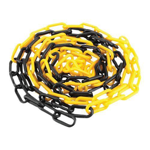 Plastový řetěz k zahrazovacím sloupkům Manutan, 25 m, černý/žlut