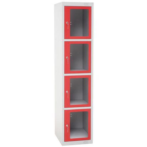 Kovová šatní skříň Manutan Jenny, 5 boxů s průhledem, červená