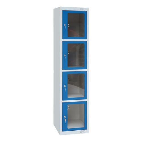 Kovová šatní skříň Manutan Jenny, 5 boxů s průhledem, modrá