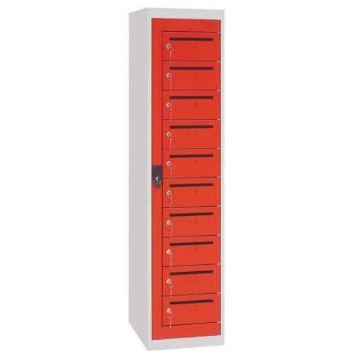 Poštovní skříň Manutan, 10 boxů, červená