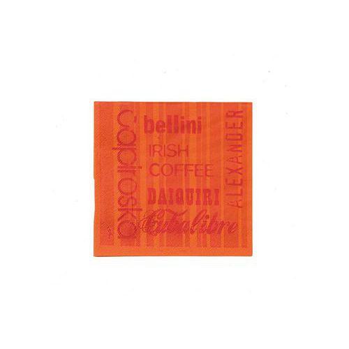 Koktejlový ubrousek Infibra 2vrstvy 25 x 25 cm, oranžový s červe